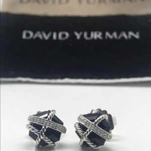 David Yurman Black Onyx Wrap Diamond Stud Earrings